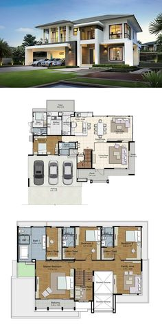 Modern House Floor Plans Sims 4 Land and Houses Modern House Floor Plans, Dream House Plans, Modern House Design, Luxury Floor Plans, Contemporary Design, House Layouts, Sims 4 Houses Layout, Exterior Design, Future House