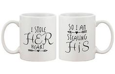 Romantic Matching His and Hers Couple Coffee Mugs - Stealing Hearts (MC041)