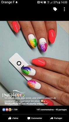 The advantage of the gel is that it allows you to enjoy your French manicure for a long time. There are four different ways to make a French manicure on gel nails. Rainbow Nails, Neon Nails, My Nails, Stylish Nails, Trendy Nails, Cute Nails, Spring Nails, Summer Nails, Nails Summer Colors