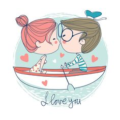 I love you my sweet dreams 😄 Cute Couple Drawings, Love Drawings, Cartoon Drawings, Cute Love Cartoons, Couple Illustration, Couple Cartoon, Cute Images, Grafik Design, Doodle Art