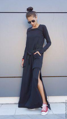 Платье Maxi Mix – купить или заказать в интернет-магазине на Ярмарке Мастеров | Платье макси, с длинными рукавами, из хлопка, с…