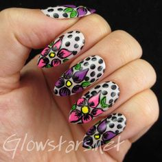 The Digit-al Dozen does florals: flowers and dots - a manicure using All That Jazz Romance Me With A Tune, China Glaze Gothic Lolita, Rimmel Strawberry Fizz and Acrylic Paint