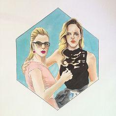 Emily Bett Rickards  Felicity Smoak - Overwatch  Katie Cassidy Laurel Lance - Black Canary Arrow, the Arrow  Artwork, drawing, fanart, comics  DC comics