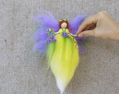 lemony Fairy, Fairy felt, Ornament fairy, Fairy needle felted, Fairy Waldorf dolls, Cornflower Fairy, Farie dolls, Gifts for girls