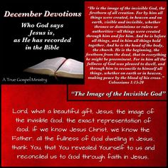 Jesus: The Image Of The Invisible God.. #atruegospelministry