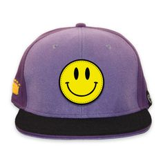 905c644f @CustomCrowns #cstmcrwns Velcro front and peak purple snapback cap with  Acid Smiley velcro patch