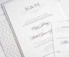 Classic wedding invitations in gray