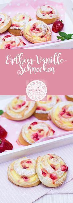 Rezept für leckere und fluffige Erdbeer-Vanillepudding-Schnecken aus Hefeteig. Die Erdbeeren können auch durch andere Früchte (z.B. Kirschen) ersetzt werden