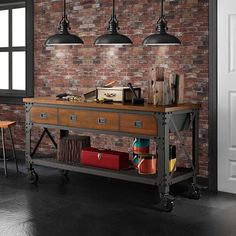 Industrial Metal and Wood Workbench                              …