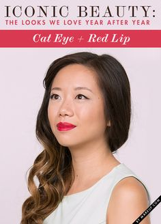 Iconic beauty, aka makeup looks we love that never go out of style! We pulled together 3 of our favorite classic beauty looks, including this red lip and cat eye makeup, and we'll show you how to get them!