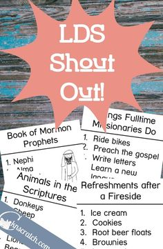 LDS Shout Out! is a great game to play at Family Home Evening, a church activity night, or even at Mutual Activities, Sunday Activities, Young Women Activities, Church Activities, Family Activities, Family Home Evening Games, Family Home Evening Lessons, Activity Day Girls, Activity Days