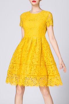 Waisted Corset Yellow Lace Dress