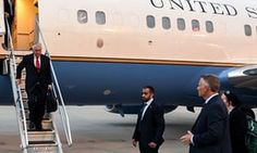 US Secretary of State Rex Tillerson disembarking from plane  in Kuwait