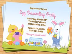 Easter Egg Decorating Party Invitation - Printable by eventfulcards on Etsy https://www.etsy.com/listing/124949964/easter-egg-decorating-party-invitation