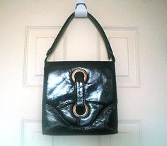 Black Vinyl Handbag or Shoulderbag Adjustable by TheGatsbyGals