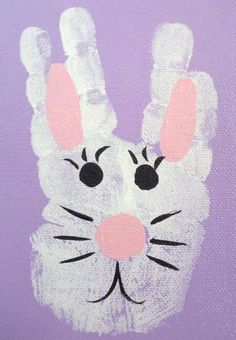 Hand Easter Bunny Kids Craft Spread Some White Paint All Over Your Except For The Thumb Stamp Their On A Colored Piece Of Paper