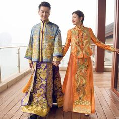 Bridal Gown Robe Chinese Style Show China wedding dress ancient bride Elegant toast suits Overseas Chinese Traditional Dress. Chinese Wedding Dress Traditional, Chinese Traditional Costume, Traditional Dresses, Chinese Suit, Chinese Style, Chinese Fashion, Wedding Outfits For Groom, Wedding Dress Styles, Chinese Men's Clothing