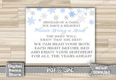 Winter Bring a Book Instead of a Card - Baby Shower Insert Card Snowflakes Blue for Boy - Invitation Insert Card - INSTANT DOWNLOAD - sb2 by DigitalitemsShop on Etsy