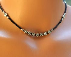 Black and Silver Seed Bead Necklace, Womens Seed Bead Choker, Silver Flower Necklace Bead Jewellery, Beaded Jewelry, Jewelery, Silver Jewelry, Beaded Bracelets, Jewelry Necklaces, Jewellery Shops, Silver Beads, Beaded Choker Necklace