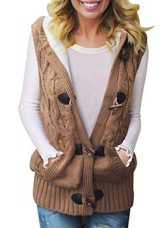 0f4cad5e82 Womens Hooded Cardigans Button Up Cable Knit Sweater Coat Outwear with  Pockets