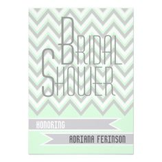 Modern chevron grey, mint wedding bridal shower personalized invitation