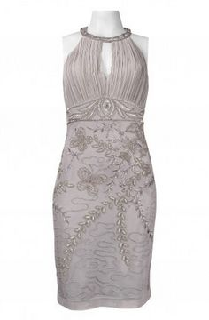 Sue Wong N3379 Platinum Silver Cocktail Dress. Keyhole Neckline Ruched Bust Embroidered Floral and Beaded Pattern Mesh Dress. Lined.