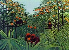 Apes in the Orange Grove by Henri Rousseau. Museum Quality Oil Painting Reproductions On Canvas. Canvas Artwork, Canvas Art Prints, Henri Rousseau Paintings, Ouvrages D'art, Post Impressionism, Oil Painting Reproductions, Art Moderne, Naive Art, Painting & Drawing