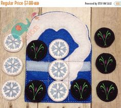 ON SALE Cold Queen Tic Tac Toe game embroidered board game activity travel game quiet game busy bag felt board play set elsa snowman frozen