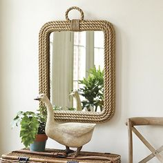 Jute Rope Mirror by Ballard Designs... have an idea to DIY this with some cheap rope, hot glue & metallic spray paint