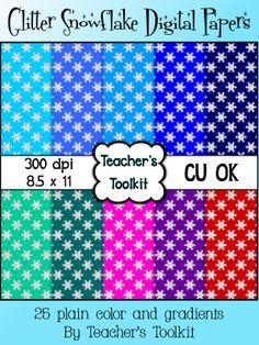 $ #Glitter #Snowflake #Digital #Papers {8.5 x 11}  #Clip Art CU OK.  25 papers.