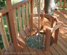 Firepole Cutoff for A Free Standing Multilevel Wood Tree House - La Canada / Fli. Firepole Cutoff for A Free Standing Multilevel Wood Tree House – La Canada / Flingridge, CA