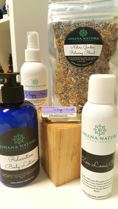 Relaxation Plus Body lotion, massage oil, mist, rollerblend, tea. What a a combo! www.ohana-natura.com