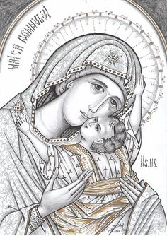 Icoana Maicii Domnului cu Pruncul Religious Images, Religious Icons, Religious Art, Writing Icon, Images Of Mary, Byzantine Icons, Cartoon Sketches, Madonna And Child, Art Icon