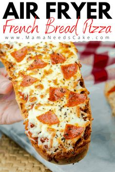 This Air Fryer French Bread Pizza is made using a loaf of French bread. It is brushed with butter and garlic mixture and topped with sauce, pepperoni, and cheese. #airfryerfrenchbreadpizza #airfryerpizza #airfryerrecipes #quicklunch #easylunch #pizza #frenchbreadpizza # Air Fryer Oven Recipes, Air Frier Recipes, Air Fryer Dinner Recipes, Instant Pot, Pizza Ninja, Sauce Pizza, French Bread Pizza, Air Fried Food, Sandwiches