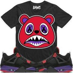 f0ff44b05f24 Baws T-Shirt RAPTOR BAWS Black Sneaker Tees Shirt - Jordan 4 Raptors Nike  Air