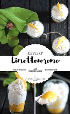 Frisch und fruchtig ist dieses leckere Dessert im Glas mit Limettencreme und Mango. So schmeckt der Sommer. Es ist einfach und schnell gemacht und ein wahrer Genuss. Das Rezept gibt es auf meinem Blog. #rezept #dessert #fruchtmousse #limettencreme #mango