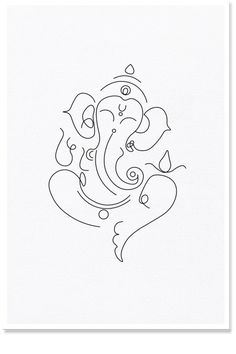 Lord Ganesha Lined, Minimal Line Art, Abstract Ganapathi Lord Arte Ganesha, Ganesha Sketch, Ganesha Drawing, Lord Ganesha Paintings, Ganesha Tattoo Lotus, Lotus Tattoo, Tattoo Ink, Modern Art Tattoos, Line Art Tattoos