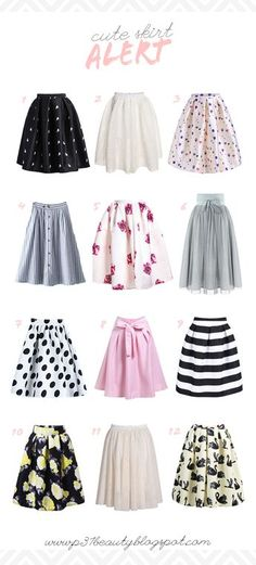 1   2   3   4   5   6   7   8   9   10   11   12 1. Black Frog Print Flare Skirt   comes in red, too! 2. White Flare Skirt 3. Beige Balloon Print Skirt   isn't this skirt so cute? it comes in blue, too! 4. BlueContinue Reading
