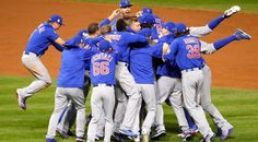 CLEVELAND, OH - NOVEMBER 02: The Chicago Cubs celebrate after defeating the Cleveland Indians 8-7 in Game Seven of the 2016 World Series at Progressive Field on November 2, 2016 in Cleveland, Ohio. The Cubs win their first World Series in 108 years. (Photo by Jamie Squire/Getty Images)