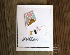 Card by Ashley Marcu using PS Kite dies, Word Salad, Stitched dies