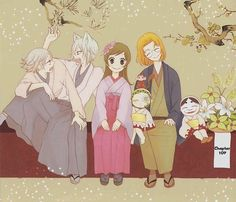 Mikage Shrine Family: Mizuki, Tomoe, Nanami, Kotetsu, Mamoru, Mikage, and Onikiri