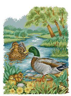 123 Cross Stitch, Cross Stitch Bird, Beaded Cross Stitch, Cross Stitch Charts, Cross Stitch Designs, Cross Stitch Patterns, Gata Marie, Cross Stitch Landscape, Bird Drawings