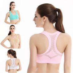 Women Workout Stretch Tank Top Yoga Padded Bra Top Racerback Sports Bra