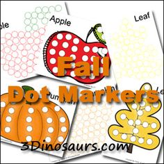 Free Fall Dot Markers from 3 Dinosaurs