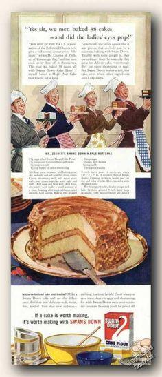 Maple Nut Cake Recipe - Swans Down Cake Flour ad (1942)