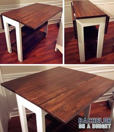 DIY Drop Leaf Ktchen Island / Cart: With about 3.5 feet square of eating surface when the drop leafs are flipped up, this is a great inexpensive space saving idea for your kitchen. Check out these easy to follow plans for this Kitchen Island with two drop leafs here: http://bacheloronabudget.com/diy-drop-leaf-kitchen-island-cart/