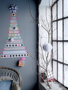 Christmas Trend 2013-12014: Folklore #Christmas with Homemade Ideas! – Alternative Christmas Tree by #Bloomingville, Made with X-Mas Star Tape, #PerscentrumWonen