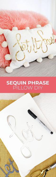 Sequin phrase pillow DIY