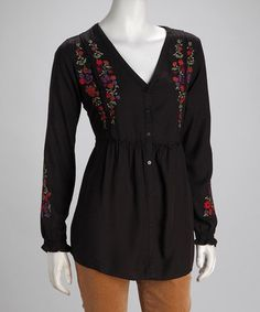 Take a look at this Black & Sienna Zhivago Button-Up Tunic by Nomadic Traders on #zulily today!