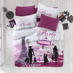 Paris Vogue Eiffel Tower Cotton Bedding Set Quilt/Duvet Cover Set Queen in Home & Garden, Bedding, Duvet Covers & Sets Queen Size Duvet Covers, Comforter Cover, Duvet Bedding, Bed Duvet Covers, Comforter Sets, Cotton Bedding, Paris Themed Bedding, Paris Bedding, Paris Bedroom